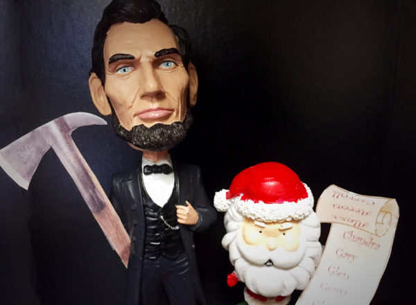 Santa and Abe hard at work