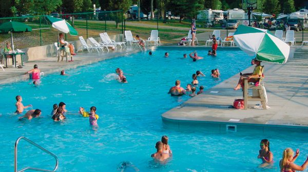 Summertime at the pool at Lake Rudolph Campground & RV Resort