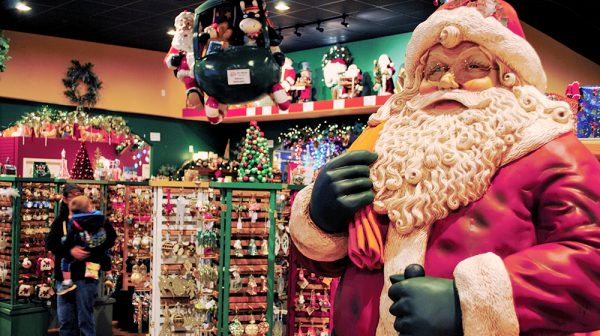 Santa Claus Christmas Store front with Santa Statue