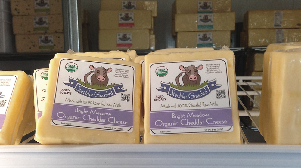 Steckler Grassfed farms chedder cheese display