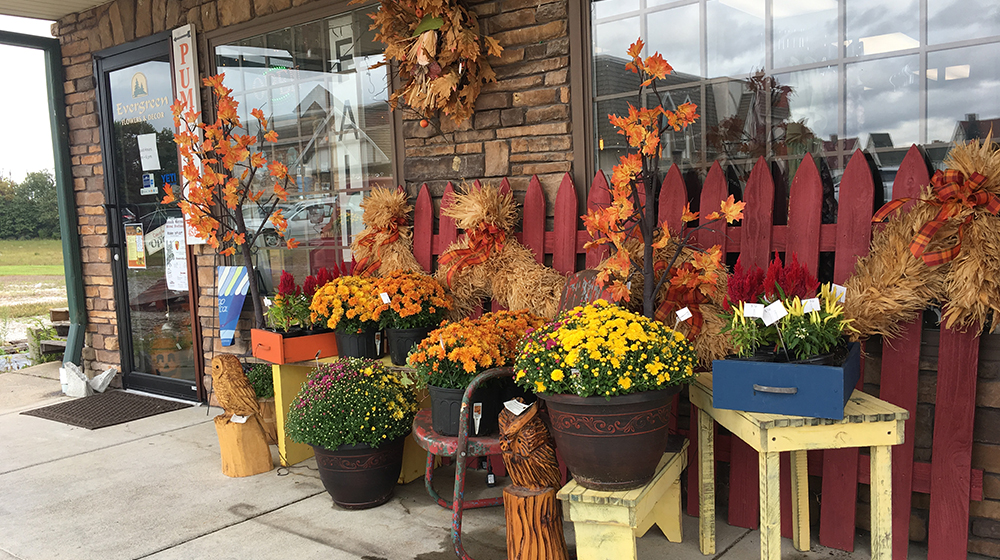 Evergreen Boutique and Christmas Shop Exterior Fall 2019