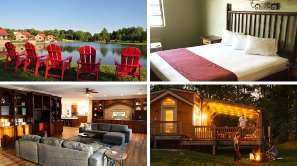 Four pictures of red chairs around lake at Santa's Cottages, guest room at Santa's Lodge, living room at Mistletoe Manor, and campfire in front of cabin at Lake Rudolph