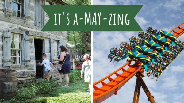 Side-by-side pictures of mom and kids entering cabin at Lincoln Pioneer Village and the Thunderbird roller coaster at Holiday World