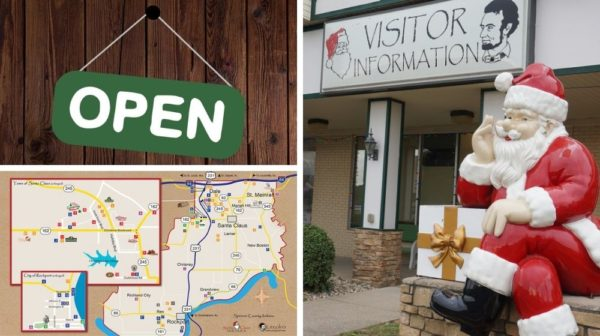 Grid image with two small photos, a green open sign graphic and a map of Spencer County, plus a large image of a Santa statue in front of a building with sign reading Visitor Information.