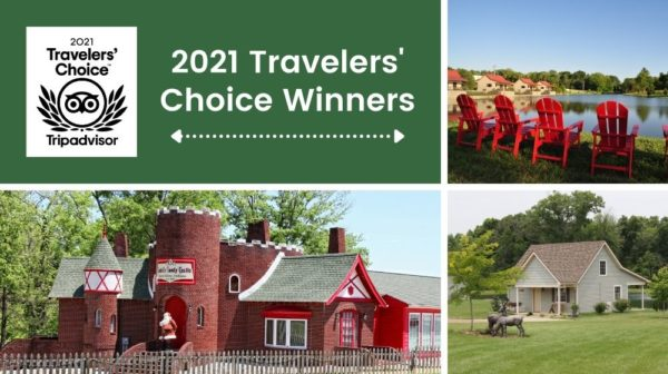 """Top left corner features a green background with Tripadvisor logo and text """"2021 Travelers Choice Winners; top right corner features four red Adirondack chairs overlooking a lake with cottages in background; bottom left features a red brick building with castle-like features; bottom right features a light blue cottage with deer statues and a tree in front and lake in back."""